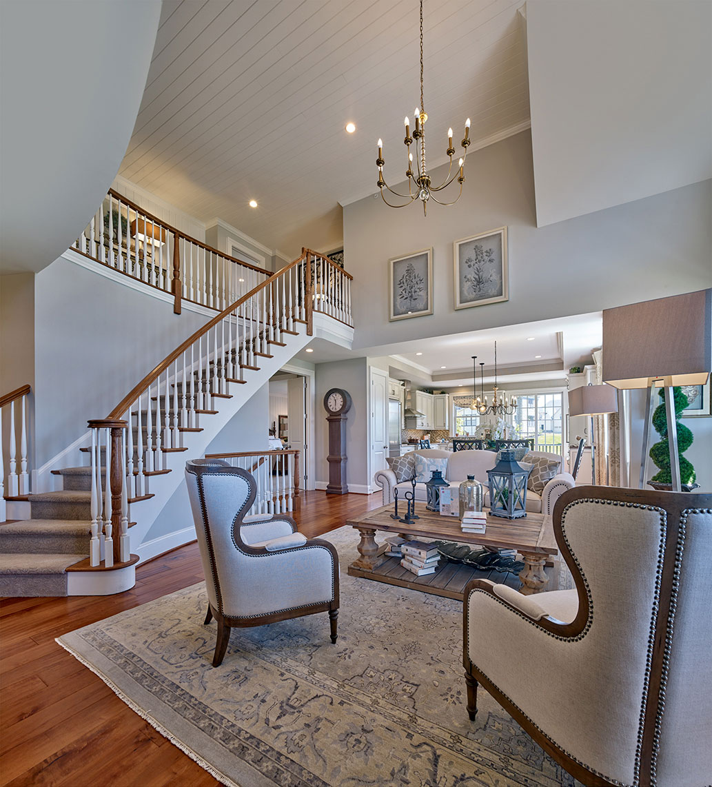 living room with staircase in Flourtown home for sale