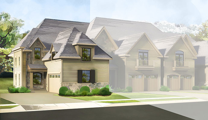 The Springfield homesite #133, built by Judd Builders at The Reserve at Creekside in Flourtown, PA