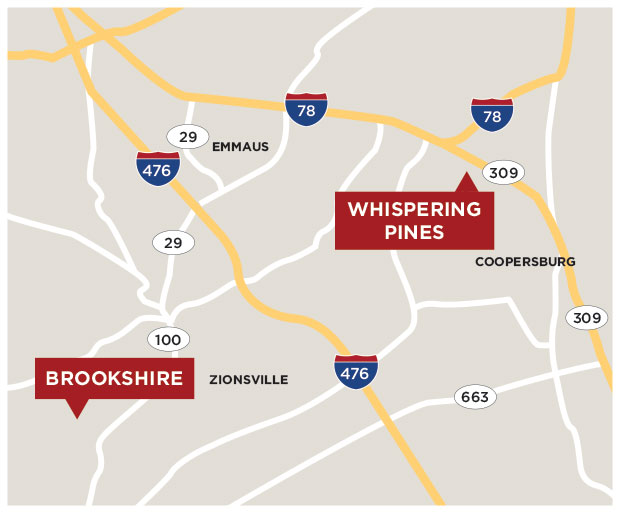Map showing Whispering Pines & Brookshire Locations