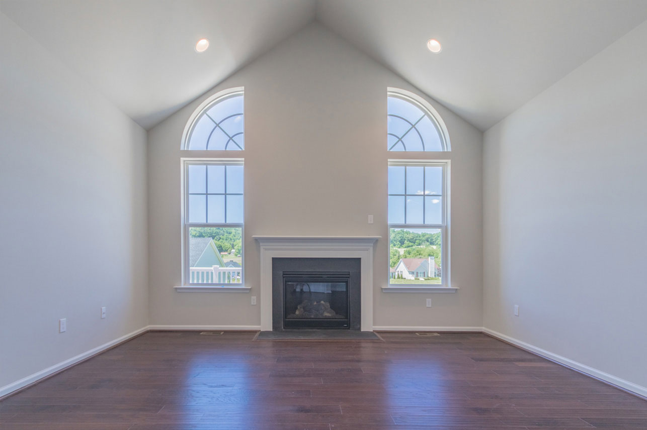 Family room with fireplace in Oley, PA house for sale