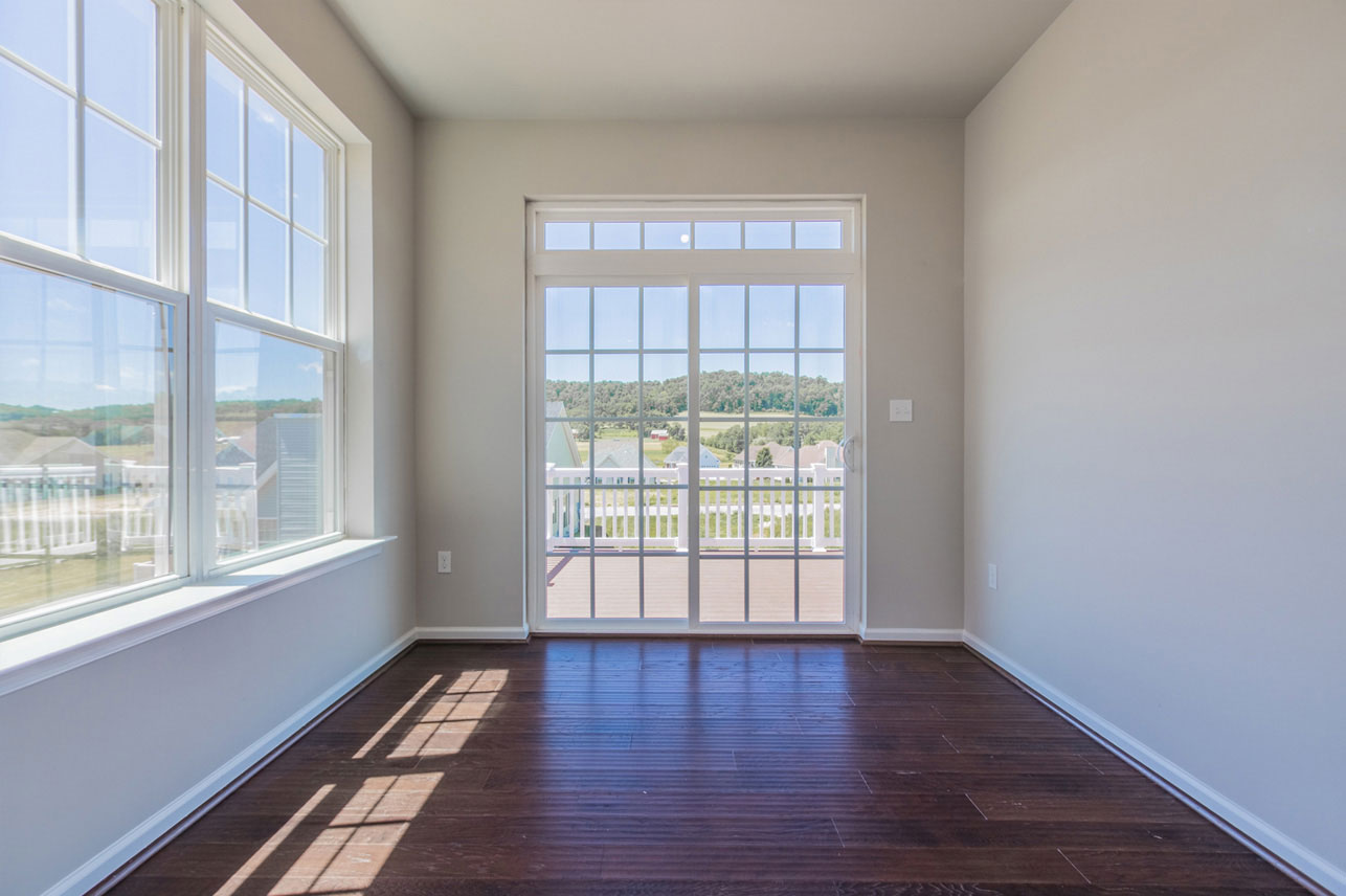 room with sliding door to deck in Berks County home
