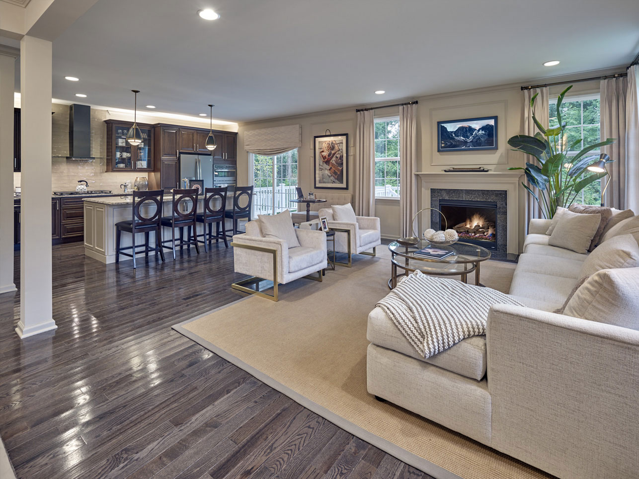 living room and kitchen in a Chester County home for sale