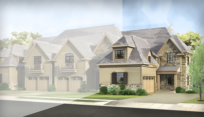 The Cresheim home model, built by Judd Builders at The Reserve at Creekside in Flourtown, PA