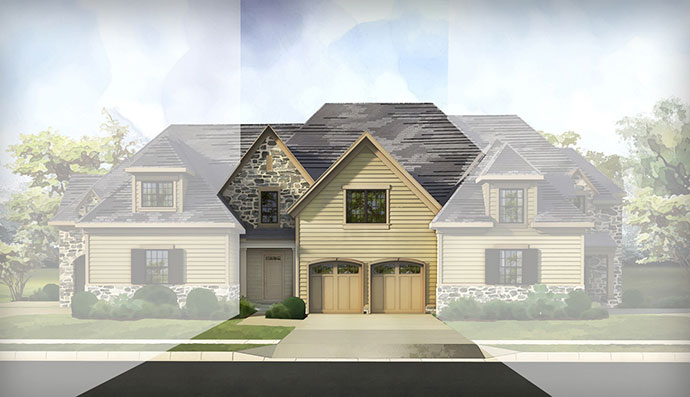 The Gowen homesite #15, built by Judd Builders at The Reserve at Creekside in Flourtown, PA