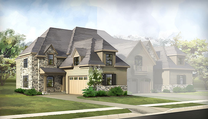The Wissahickon homesite #49, built by Judd Builders at The Reserve at Creekside in Flourtown, PA