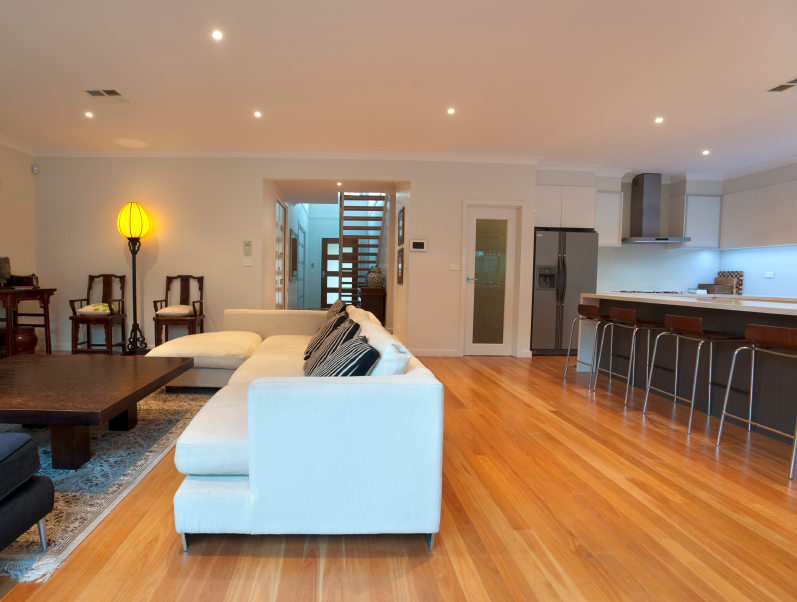 Open plan living room and kitchen with wooden floors