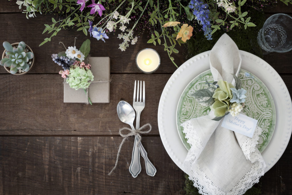 Mother's Day Dining Rustic Place Setting on Old Wood Background