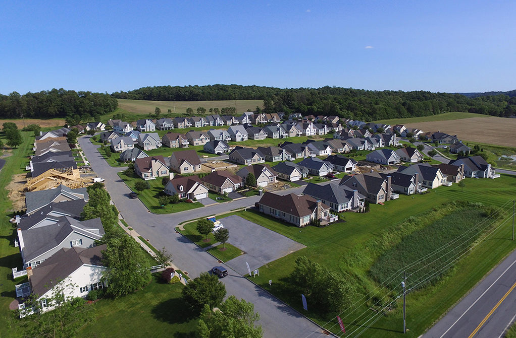 Arial view of brand new 55+ community homes at Meadow View Farms