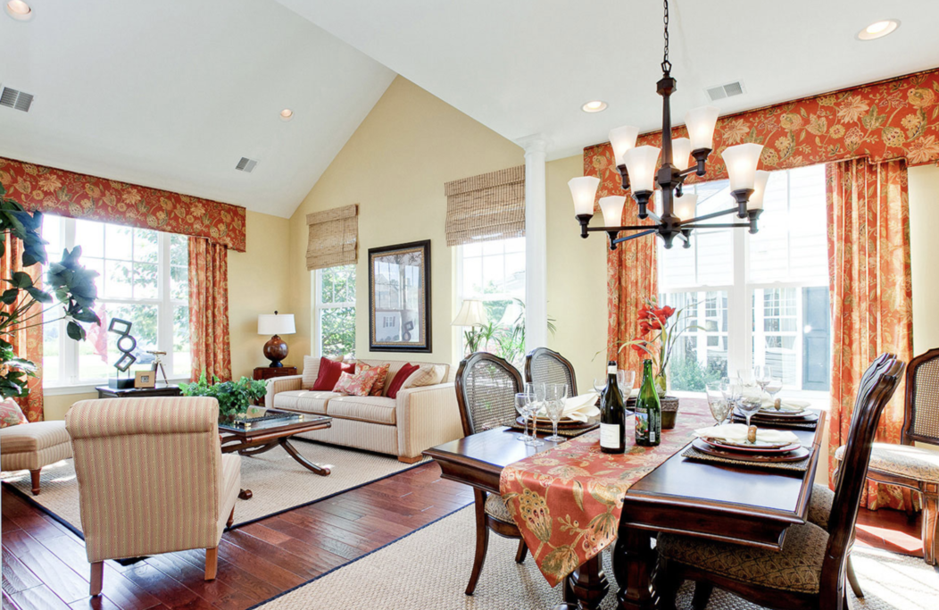 Interior dining and living area of The Chatham at Meadow View Farms