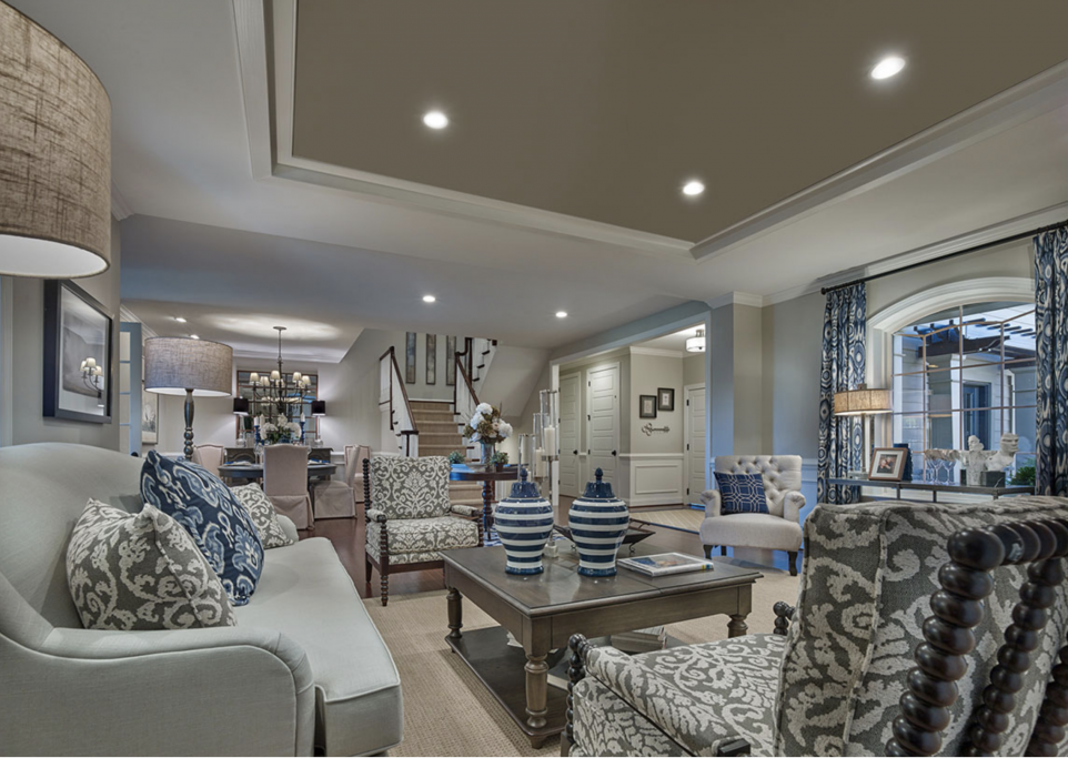 Interior living room of Wissahickon model home at The Reserve at Creekside