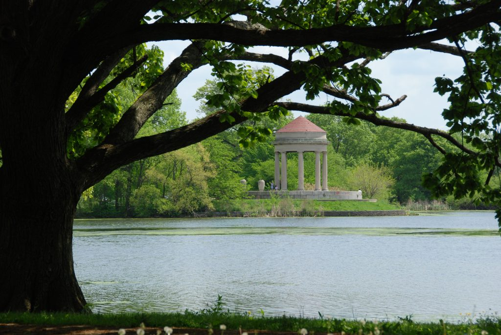 River and architectural structure at FDR Park in Philadelphia