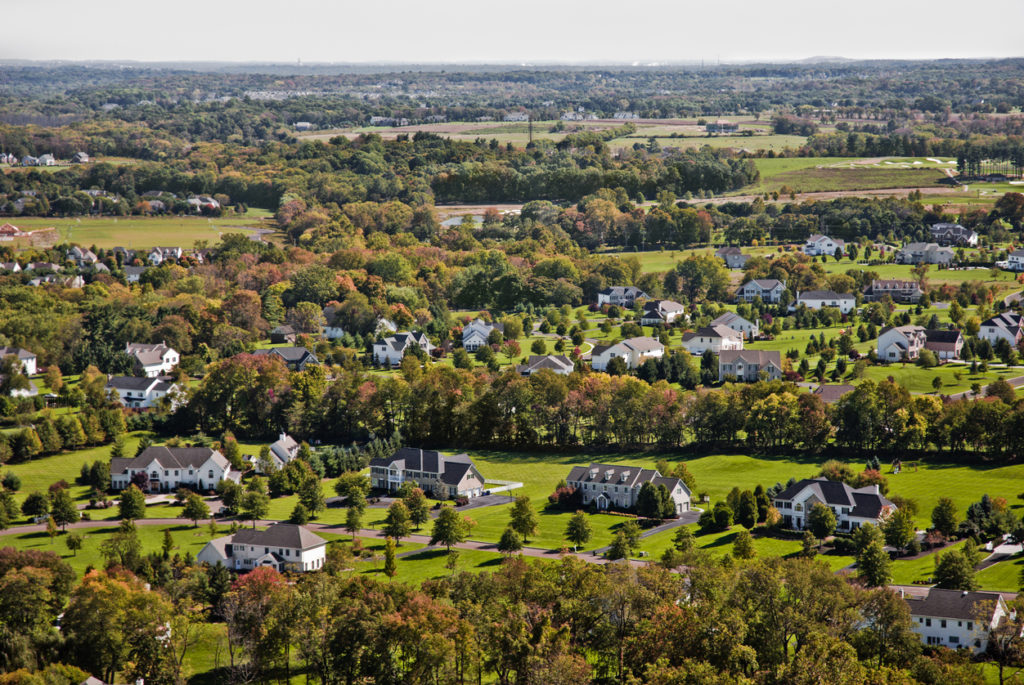Aerial view of Chester County, Pennsylvania