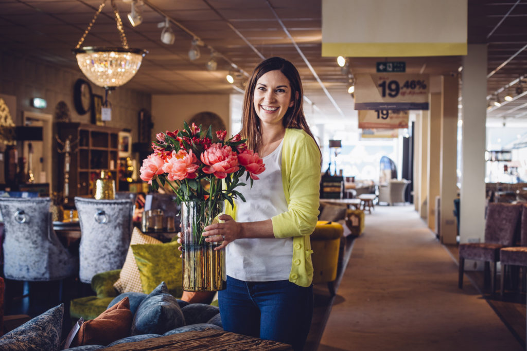 Woman shopping in a home decor store